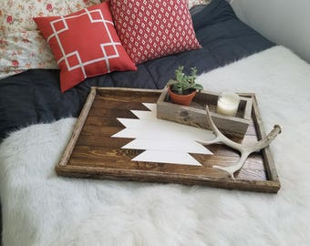 Reclaimed wood serving tray; decorative tray, coffee table tray, wooden tray, ottoman tray, breakfast tray, large tray, wood tray, aztec