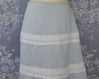 Vintage Pale Blue and Lace Midi Skirt