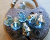 NEW GOLDEN WATER Cones .  Czech Metallic Glass Beads . 6 mm by 8 mm (10)