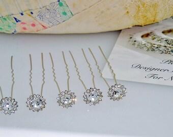 Silver Rhinestone Cluster Hair Pins 5 piece Bobby Pins ~ Brooch Bouquet Supplies