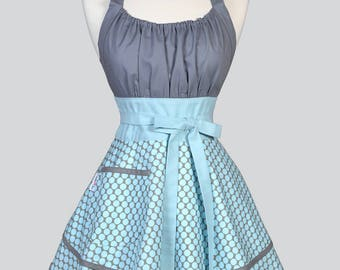 Womens Flirty Chic Apron / Amy Butler Lotus Bloom Gray with Blue Polka Dots Ruffled Vintage Style Pin Up Kitchen Apron with Pocket
