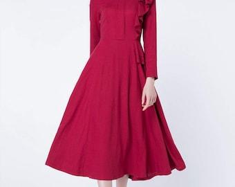 red dress, linen dress, prom dress, ruffle dress, midi dress, wedding dress, bridesmaid dress, spring dress, fitted dress, pleated dress1732