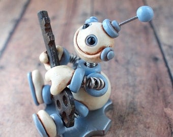 Key Thief Grungy Bot Mini Robot Sculpture - Clay, Wire, Paint