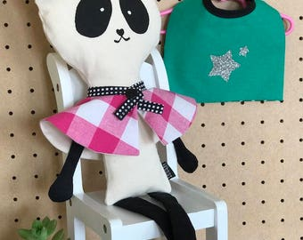 Panda / pink capelet and green cape