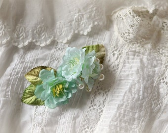 Shabby chic hair clip, teal flower clip, pearl hair clip, floral hair accessory, whimsical hair clip, bridal headpiece, mint green flowers