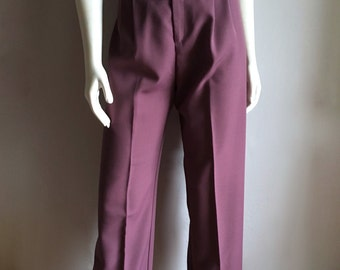 Vintage Women's 80's Purple Pants, High Waisted, Pleated by Pantasia (S/M)