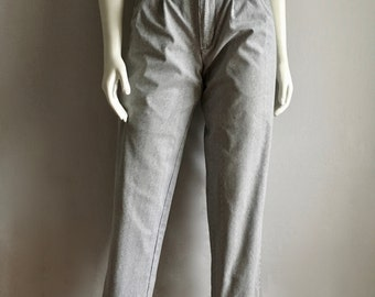 Vintage Women's 80's Pleated Pants, High Waisted, White, Gray Striped (M)