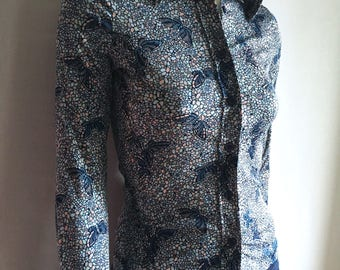 Vintage Women's 70's Butterfly Disco Blouse, Blue, Polyester, Butterfly Collar (XS)