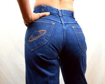 Vintage Dark Wash Denim Superstar Jeans 70s 80s Bell Bottoms - Saturn Planet