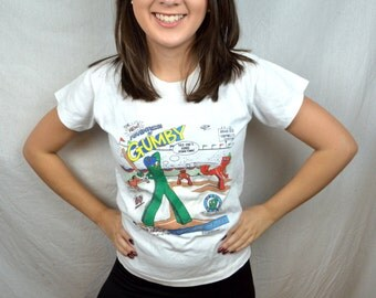 Vintage 1986 80s Gumby Tshirt Tee Shirt - XS Kids