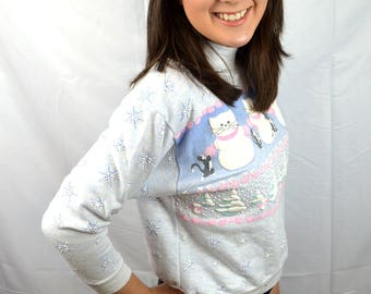 Vintage Kitty Cat Snow Winter Puffy Spumoni 1980s Sweatshirt - XS