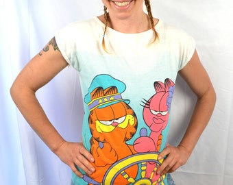 Vintage 1980s 80s Captain Garfield Tee Shirt
