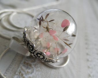 Love Is In The Air-Round Glass Terrarium Reliquary-Dandelion Seed-Pink Hearts Everchanging Pendant-Symbol Happiness-Nature's Art