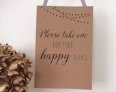 Wedding Favour Tissues for Happy Tears Accompanying Sign.