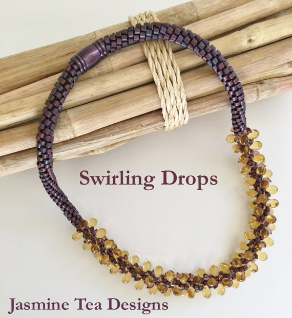 Swirling Drops, A Fully Beaded Kumihimo Necklace designed by Diana Miglionico-Shiraishi and featured in Bead Trends