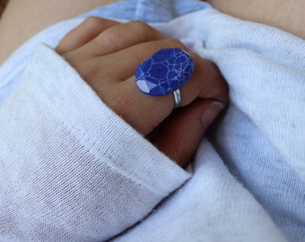 Blue Stone Adjustable Statement Ring.