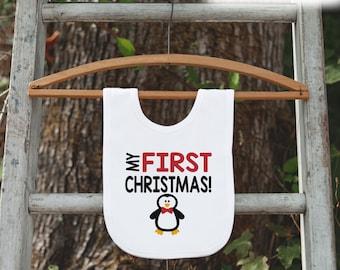 Penguin Bib for Baby - Christmas Bib - First Christmas Dinner Bib - Winter Holiday Bib for Baby Boy - Christmas Gift For Baby