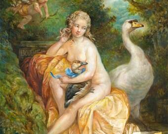 Fickle Leda (print) - swan zeus duck cupid funny art history humor