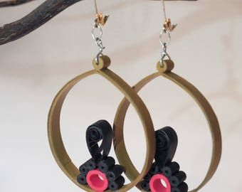 Paper Quilling Earrings, Brown Black Pink, Jewelry, Women's Accessories, Paper Crafts, Gift Ideas, Handmade