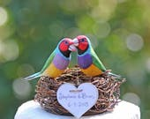 RESERVED for STEPHANIE - Custom Gouldian Finches in Rustic Nest Wedding Cake Topper