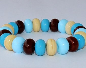 """Handmade Lampwork Beads, 24 Pieces """"Dark Ivory, Sky Blue, Chocolate Brown and Turquoise"""", Size about 8.9 to 9.7 mm"""