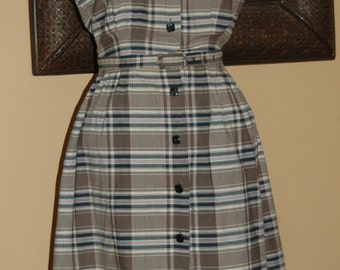 1950 Plaid Shirt Waist Dress Short Sleeve Belted New Look Day Dress
