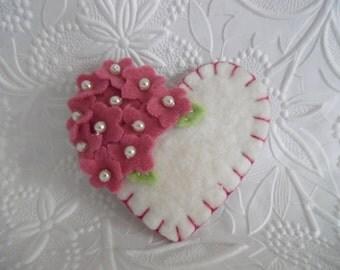 Rose Felt Flower Brooch Heart Beaded Flowers Valentines Day
