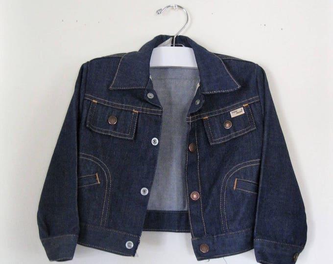 Vintage Children's 60s denim jacket / Hipster Grunge Baby jean jacket / Boho Hippie Baby denim vintage jacket