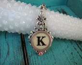 Typewriter Key Jewelry - Typewriter Necklace Letter K