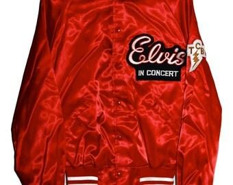 Vintage 70s ELVIS PRESLEY Live in Concert Rock & Roll Tour Satin Bomber Jacket Large L Howe