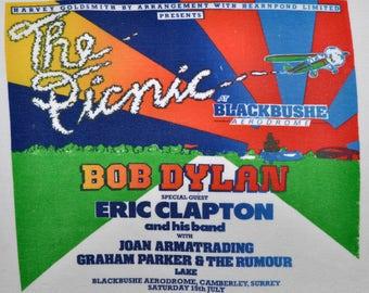 Vintage 70s 1978 THE PICNIC Bob Dylan & Eric Clapton Rock Concert Tour T SHIRT Small S