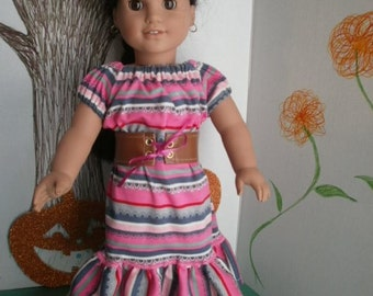American Girl doll Size Peasant Style Dress with leather belt and shoes, Josefina style Dress & Belt