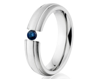Tension Set Ring, Uniquley You, 6mm,  Titanium Ring, Sapphire, 6HR2G-XB-Tension