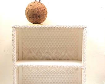 1960s White Wicker Shelf White Aztec Design
