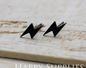 4 pieces (2 pairs) Nickel Free - High Quality Lightning Dual-used Black Earring Post Finding with Ear Stud Stopper (SS020)