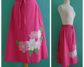70's pink floral wrap skirt // floral applique spring skirt ~ small medium