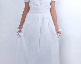 Cotton Wedding Dress, Long White Dress, Evening Gown, Edwardian Dress, White Summer Dress, Lace Dress, Plus Size Dress, Angel Dress