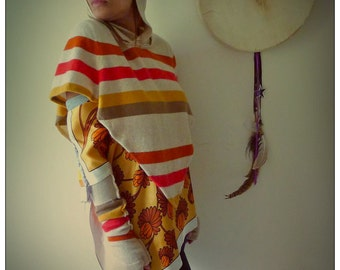 Upcycled Cashmere Stripey Mini Hoody Poncho          ReMade in England UK