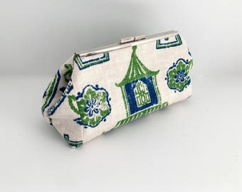 Chinoiserie clutch, blue green clutch, pagoda clutch, asian inspired clutch, blue handbag, formal bag, evening bag in fabric by Durable