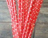 Red Tiny Dot Paper Straws, Party Straws, Soda Fountain Straws, Baby Shower, Birthday, Wedding, Bridal Shower, 25 Straws Per Pack
