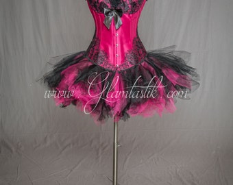 READY TO SHIP Size Medium Fuschia and black tulle lace burlesque prom dress Day of the Dead costume