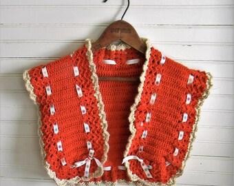 Vintage Sweater, Girls Sweater Vest, Crochet Sweater Vest 1970s Sweater, Cardigan Rust Brown Crochet Sweater Vest, Girl's Vintage Clothing