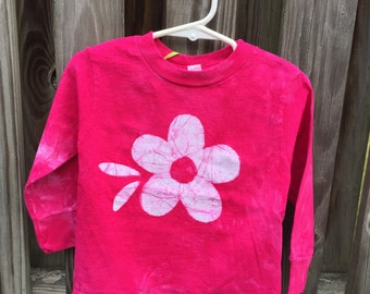 Pink Girls Shirt, Flower Girls Shirt, Pink Flower Shirt, Kids Flower Shirt, Girls Flower Shirt, Fuchsia Flower Shirt, Batik Kids Shirt (2T)