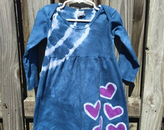 Tie Dye Dress, Girls Heart Dress, Blue Girls Dress, Purple Heart Dress, Girls Tie Dye Dress, Batik Girls Dress, Dark Blue Dress (2T) SALE