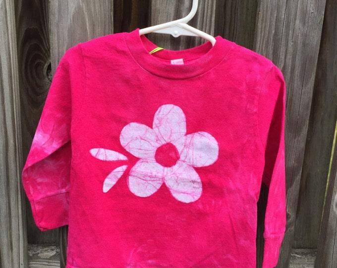 Pink Girls Shirt, Flower Girls Shirt, Pink Flower Shirt, Kids Flower Shirt, Girls Flower Shirt, Fuchsia Flower Shirt, Batik Kids Shirt (2T)