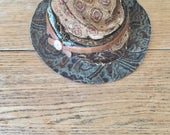 Unique Boho Hat, Handmade Bohemian Hippiechic in shades of brown and light bluegreen color