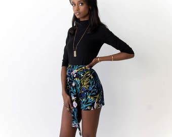 Tie Around Pleated Shorts - Hand Printed - Organic Cotton  -Slow Fashion - Eco Fashion - Black 'Wandering Floral' - Thief and Bandit®