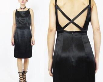 1990s Black Satin Mini Dress Criss Cross Open Back Dress Body Con Square Neck Sleeveless Black Mini Dress Formal Cocktail Party Dress M E257