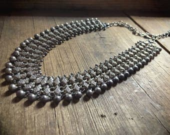 Vintage sterling silver Yemen necklace, silver chainmail choker, Bedouin wedding, tribal bib colllar, gypsy jewelry, Art Deco, nomad jewelry