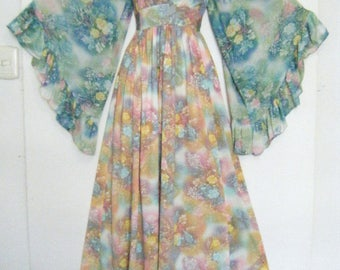 70s PSYCHEDELIC ANGEL SLEEVE Goddess Dress, size m - l